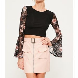 Black Floral Lace Sleeve Crop Top